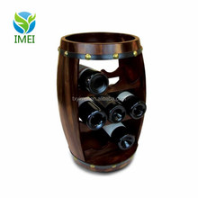 YM0B05 Puzzled Alexander 8 Bottle Dark Fir Wood Barrel Wine Rack - Barrel Shape Wine Decor Rack Stand