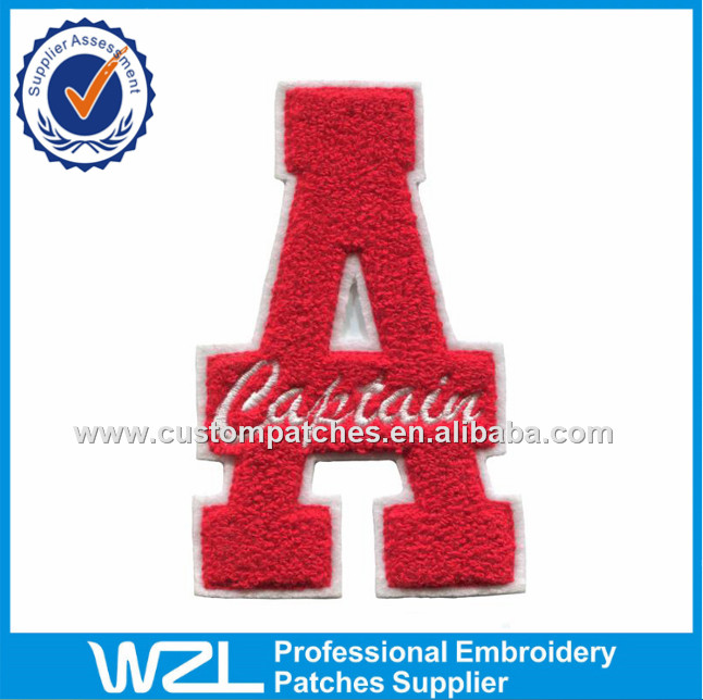 Felt fabric material patches, Letters embroidery chenille logo patch label