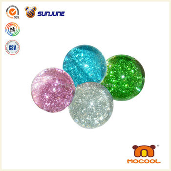 60mm wholesale custom logo TPU glitter bounce ball, led bouncing ball