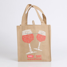 Wholesale 100% customized logo printing reusable non woven 6 bottle wine tote bag with hanger