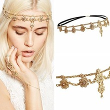 Antique Rhinestone and Imitation Pearl Gold-tone Fashion Head Chain and Hand Chain Jewelry Hair Accessories for Women