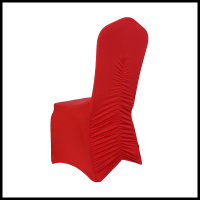 factory direct sale back ruffled red color cheap universal spandex chair covers for wedding