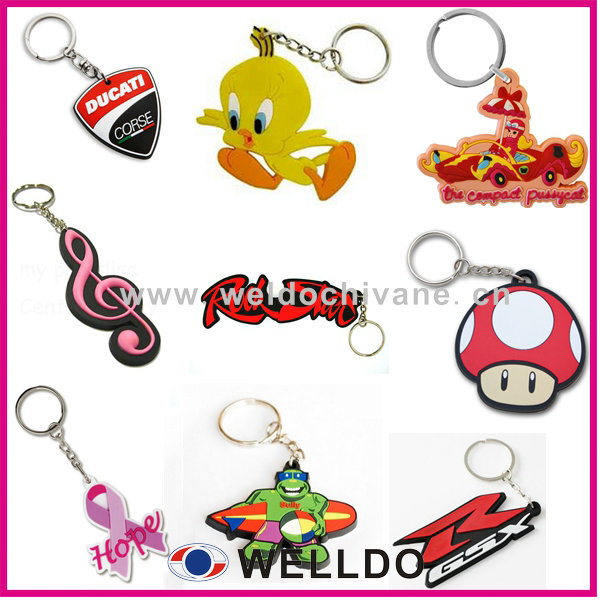 customized company logo pvc cute car key chains