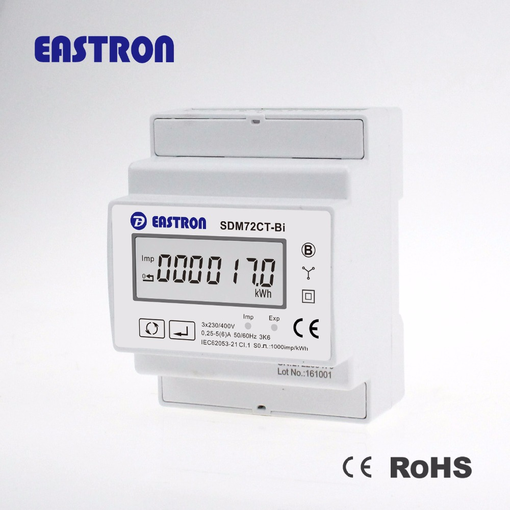 SDM72CT-Bi , Three Phase four wire digital electricity kwh Meter with CT: 1A/5A bi-directional solar pv