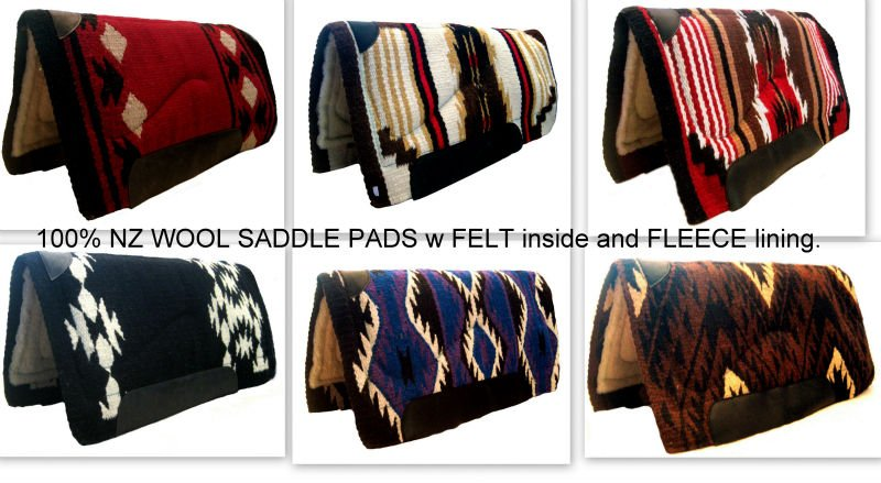 100% New Zealad wool saddle pads with fleece lining