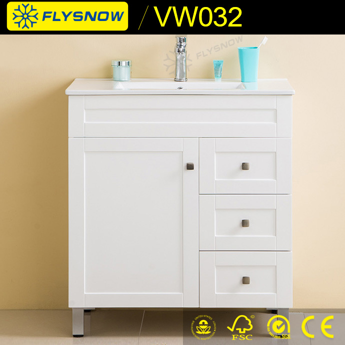 Europe classic wooden bathroom vanity cabinet floor standing White <strong>Oak</strong> cabinet