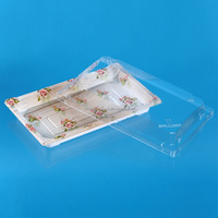 Colorful disposable plastic sushi, cake tray with clear separate lid