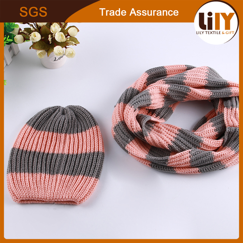 Winter Striped Hat Infinity Loop Scarf Beanie Ski Hat and Scarf