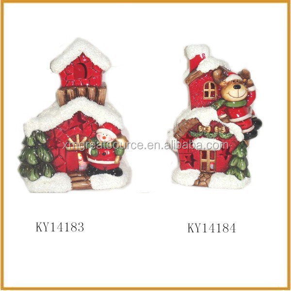 cheap ceramic lights christmas village houses for sale