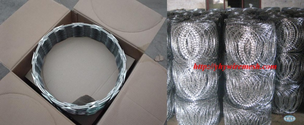 450mm coil diameter hot dipped galvanized military concertina razor barbed wire safety fence price for sale