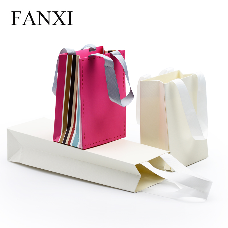 FANXI Factory Custom Logo Shopping Bag With Handle Glossy Matte Paper Gift Bags For Jewelry