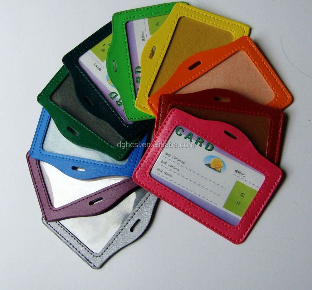 colorful customized Pvc and leather ID card holder