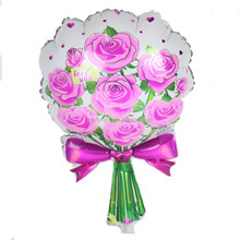 Sweety helium foil self-sealing rose bouquet flower balloon for wedding pink color