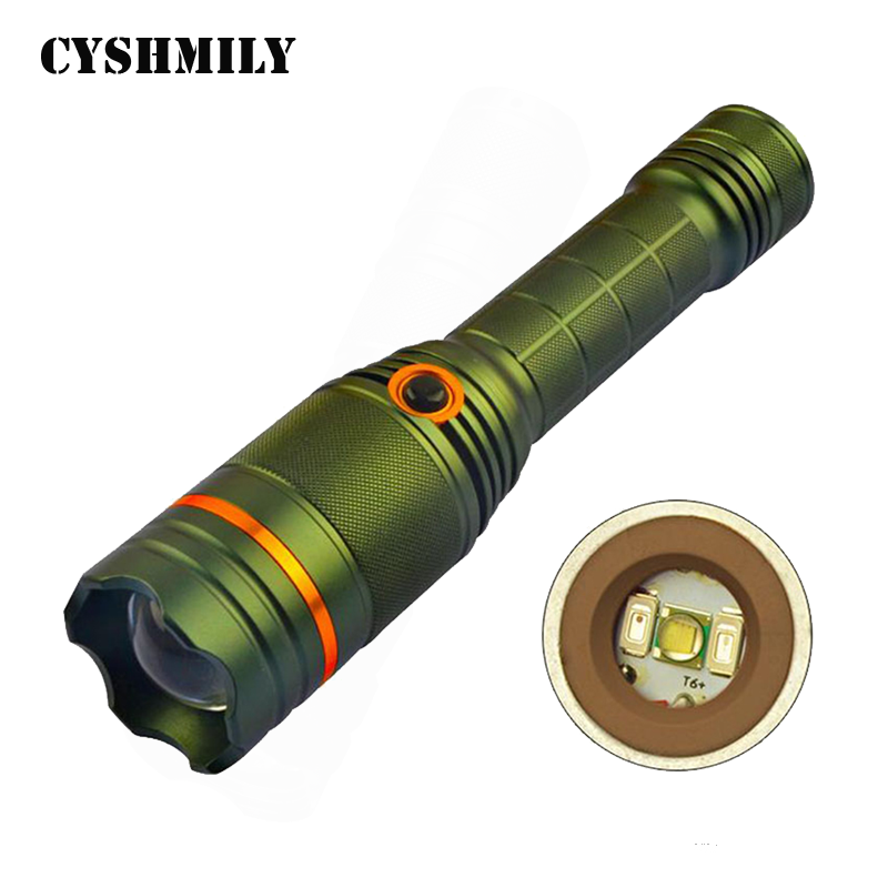 CYSHMILY Convex Lens T6 Bulb Red and Blue Warning Camping Zoom Powerful Outdoor Led Torch Light