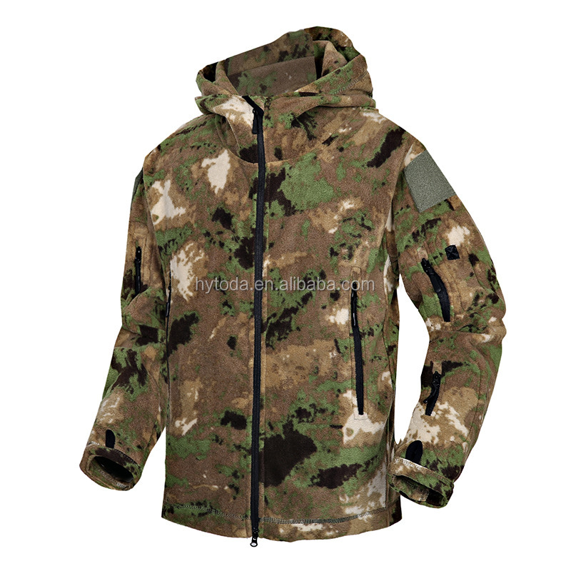 Vintage Military Jacket Army man Camouflage Fleece Jacket Mens Coat Military