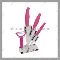 Charming Sharpen Ceramic Knife Set with Pink Handles