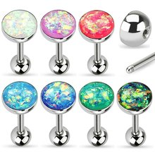 Synthetic Opal Sparkle Tongue Ring Barbell