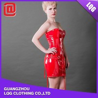 New design red PU leather strapless corset bodysuit