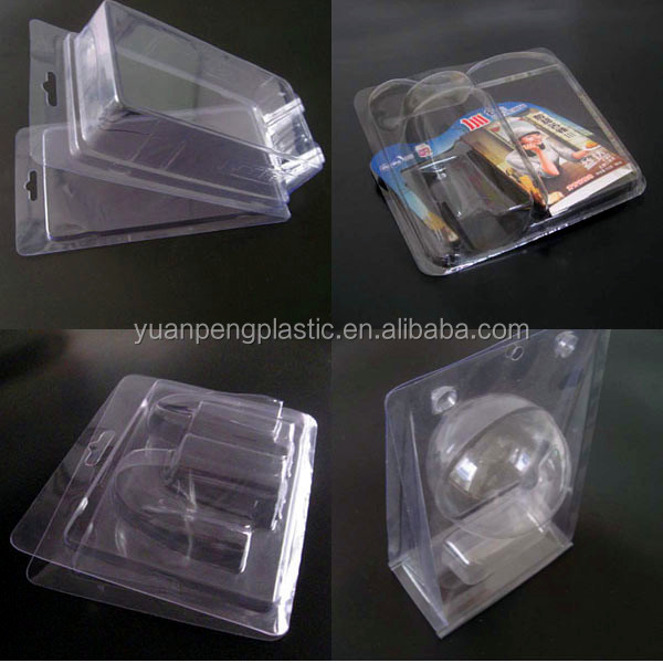 Custom clear plastic clamshell packaging with good click lock Transparent PVC PET blister clamshell packaging with insert card