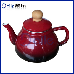 Hot Full around decal enamel tea pot with porcelain handle