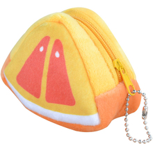 Fruits Coin Bag Triangle Change Purse Key Hook <strong>Wallet</strong> for Coin Cheap Gift Portable Women Plush Cotton Hand Purse