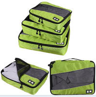Waterproof nylon luggage organizer cubes , 3 pcs set travel packing pouches , polyester mesh travel bags packing organizer