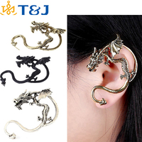 >>>2015 Gothic Rock Fly Dragon Ear Stud Vintage Retro Cuff Clip Exaggerated Personality Earring for Men and Women