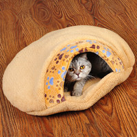 Pet Cat Bed Small Dog Kennel Sofa Pet Mat Cat House Paw Prints Sleeping Bag Winter Nest