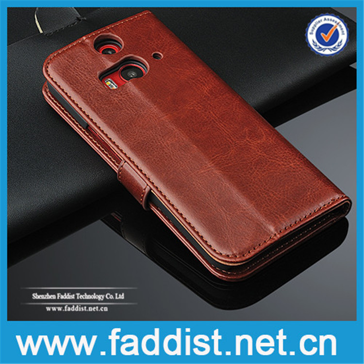 Stand PU leather wallet case for HTC One 2 M8