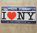 Novelty wholesale promotion souvenir love New York decorative license plate aluminum, 15*30cm vehicle plate