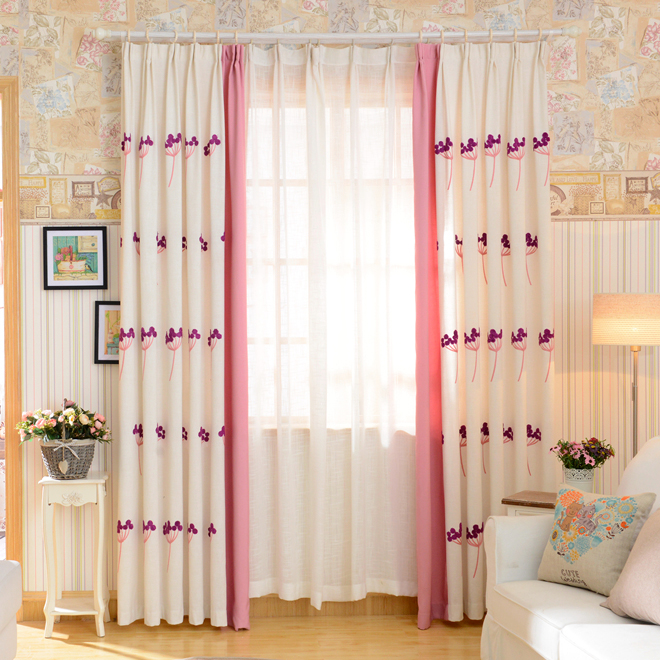 New arrival dandelion designs embroidery curtain for bedroom