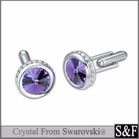 Yiwu Manufacturer Cufflink With Authentic Swarovski Crytal Cuff Link