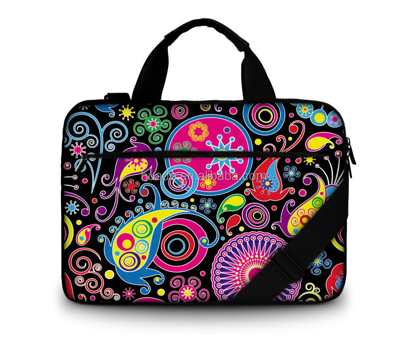 hot selling in E business 2016 new stylish colorful 15.6 inch Canvas Laptop Bag with handle and shoulder straps