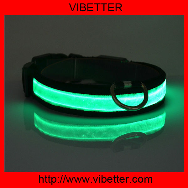 water-proof LED flashing genuine leather dog collars