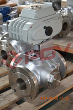 Stainless steel dn100 electric flange 3 way ball valves 4 inches