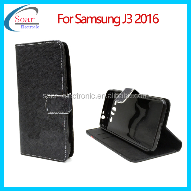 Elegant Mobile Phone Flip Cover Handmade Leather Case With Card Pocket For Samsung Galaxy j3 2016