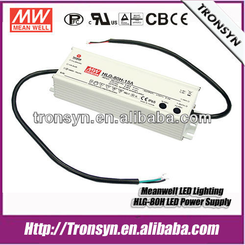 Meanwell Power Supply HLG-80H-15(80W 15V) Waterproof LED Driver 80W 15V 5A Built-in Dimmable With IP67
