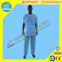Disposable blue or green SBPP scrub suits,various sizes scrub suit includes coat and pants
