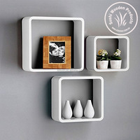 Uniifurn Square Wall Shelves Rounded Corner, Set of 3, White