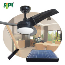 Morden Green Style Ceiling Fan Non Electric Double Solar Powered Homestead Ceiling Fan 24h Runs with AC/DC Converter