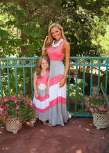 Summer Family Look Girl and Mother Daughter Sets dresses Matching Outfits Contrast Color ropa madre e hija mommy and me clothes