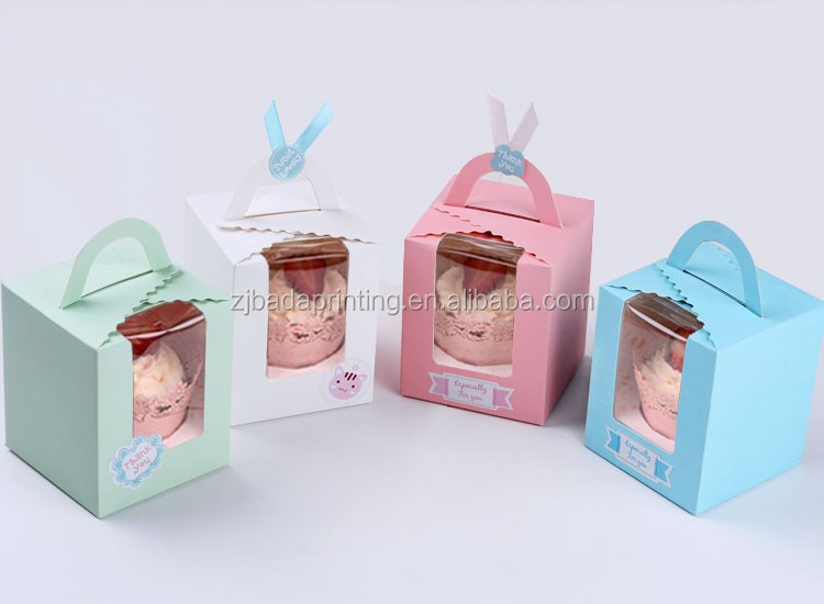 Cupcake Paper Boxes with handle, PVC Window Designed Cookie Packing Box