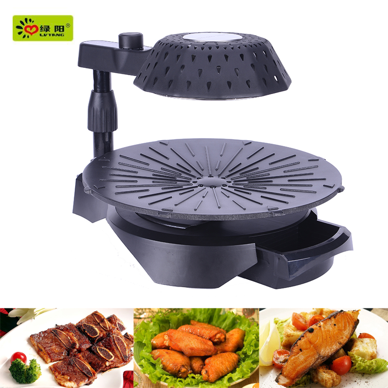 Korean smokeless indoor infrared heating electric rotating bbq grill &unique bbq grills and bbq oven chicken recipe