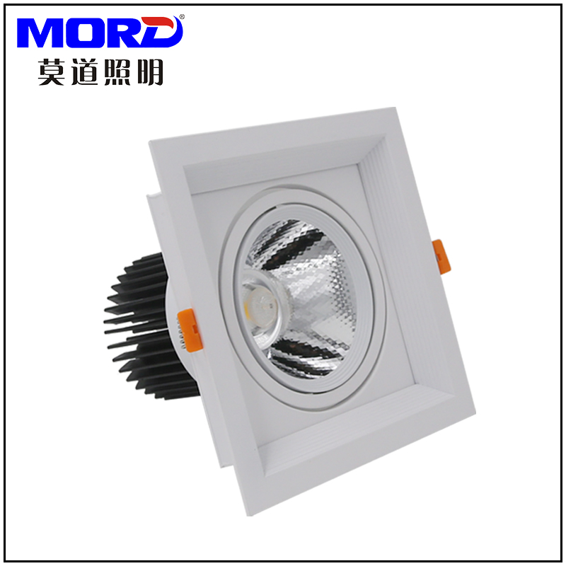 Indoor dimmable recessed cob led grille light square downlight for kitchen