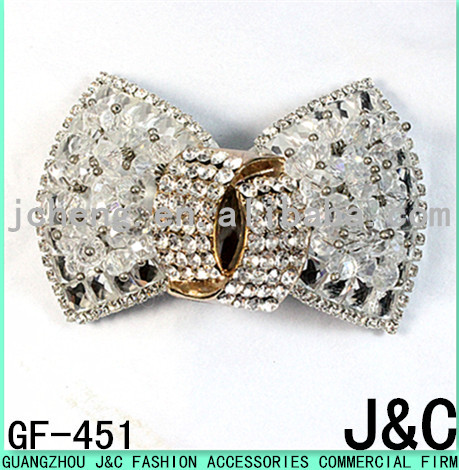 2015 the most fashionable glass stone shoe bow