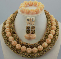 JB247-8 nigerian style gold color beautiful jewelry set pearl jewelry