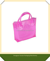Portable Pink women PVC handle bag