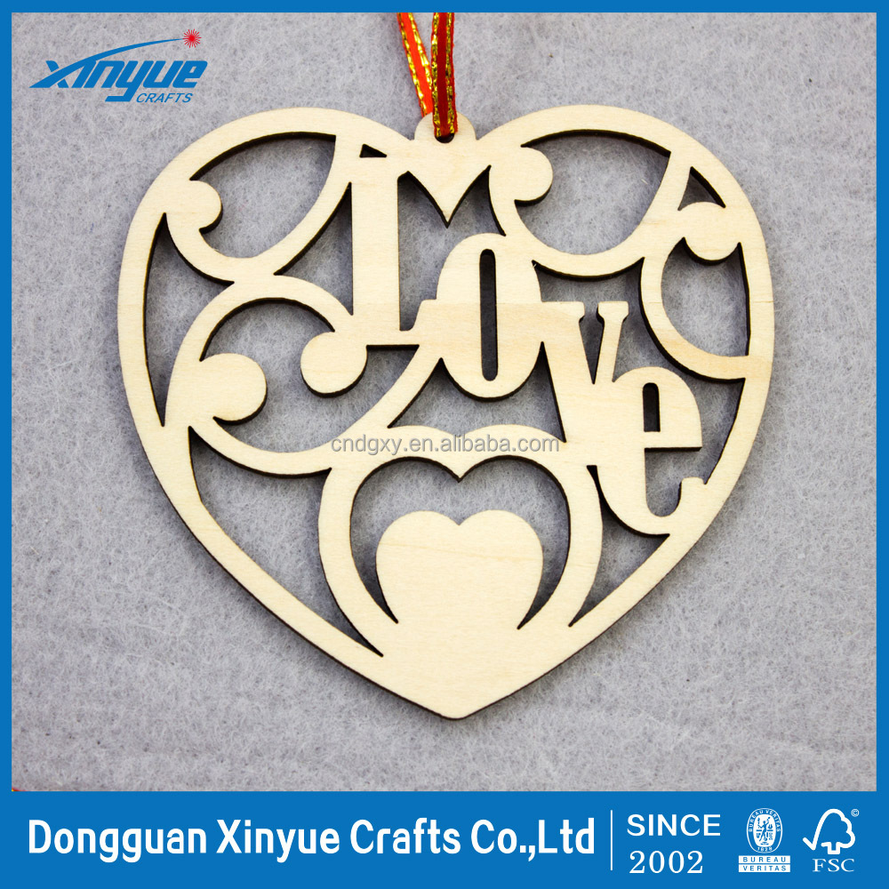 Laser cut wooden wood round hollow heart shaped charm pendant jewelry