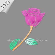 Rose velvet heat transfer design for decorate accessories on garment