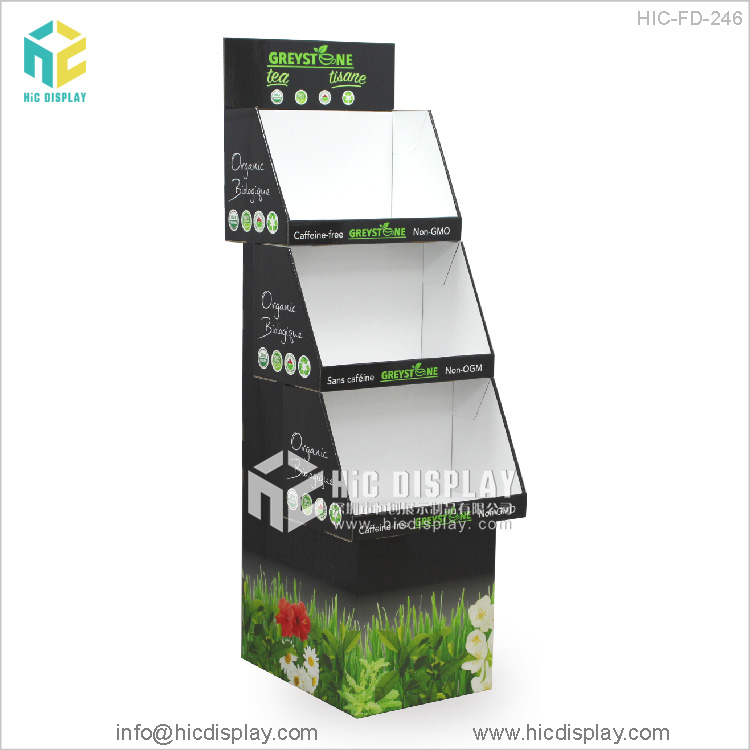 Custom Printing structure design 3 tiers cardboard display stand